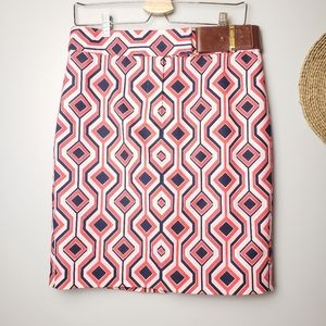 Michael Kors Coral Geo Print Pencil Skirt size 8
